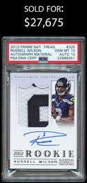 2012 National Treasures Football #325 Russell Wilson Autograph Material #/99 PSA Gem Mint 10/Auto 10