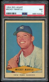 1954 Red Heart Dog Food Mickey Mantle - PSA NM 7