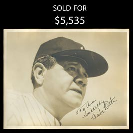 Babe Ruth Signed 8 x 10 Original Photo - JSA