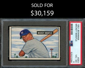 1951 Bowman Baseball #253 Mickey Mantle Rookie High Number - PSA VG-EX 4