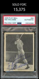 1939 Play Ball #92 Ted Williams Signed Rookie – PSA/DNA Authentic & Full JSA