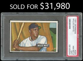1951 Bowman Baseball #305 Willie Mays Rookie - PSA NM-MT 8 (oc)