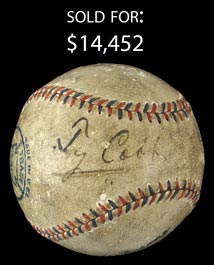 Ty Cobb Single-Signed Date-Inscribed 6-9-1917 Ban Johnson OAL Baseball with Full JSA