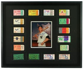 Mickey Mantle Signed Autographed and Framed Display With All (16) World Series Home Run Ticket Stubs