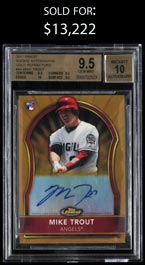 2011 Topps Finest Rookie Autographs #94 Mike Trout Gold Refractor #/75 - BGS 9.5 Gem Mint/Auto 10 with None Better!
