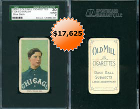 Blue Back Old Mill Ed Walsh 1909-11 T206 White Borders SGC 30 Only Known Example