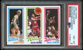 1980-81 Topps Basketball Bird/Magic Rookie Card - PSA NM-MT 8