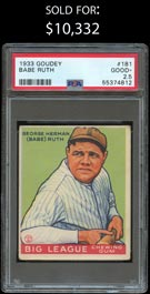1933 Goudey Baseball #181 Babe Ruth - PSA Good+ 2.5