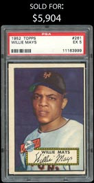 1952 Topps Baseball #261 Willie Mays Rookie - PSA EX 5