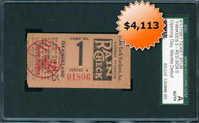 Mickey Mantle Debut First Game Ticket Stub April 17, 1951 SGC Authentic
