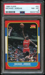 1986-87 Fleer Basketball #57 Michael Jordan Rookie - PSA NM-MT 8