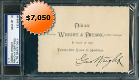 George Wright Autographed Signed 1896 Dinner Invitation - PSA/DNA 10