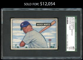 1951 Bowman Baseball #253 Mickey Mantle Rookie - SGC 45 VG+ 3.5