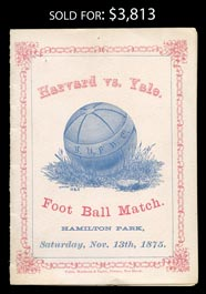 1875 First Ever Harvard v Yale Football Game Program - Scored 4-0 Harvard