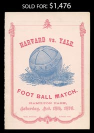 1876 Second Ever Harvard v Yale Football Game Program - Yale 1-0
