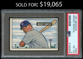 1951 Bowman Baseball #253 Mickey Mantle Rookie - PSA VG-EX 4