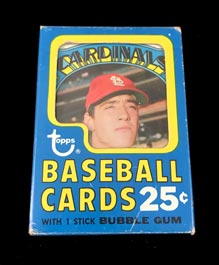 1972 Topps Baseball Unopened Cello Pack in Display Box