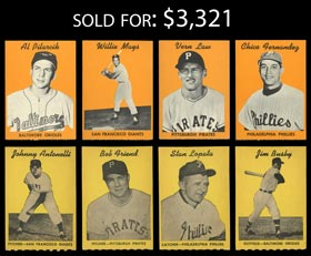 1958 Hires Root Beer Test (no Tabs) Complete Set of (8) Cards with Mays - Sharp!