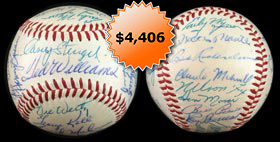 1957 American League All-Stars Team-Signed Autographed Baseball With Mickey Mantle, Ted Williams from Billy Pierce Personal Collection