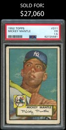 1952 Topps Baseball #311 Mickey Mantle Rookie High Number - PSA Fair 1.5