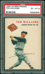 1954 Wilson Franks Ted Williams PSA EX-MT 6