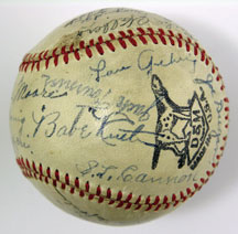 Stunning Multi Signed Baseball w/ Babe Ruth, Lou Gehrig, Jimmie Foxx, plus