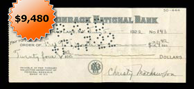 Christy Mathewson 1922 Signed Autographed Bank Check - Full JSA