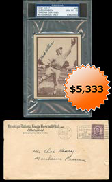 Hack Wilson Signed Autographed 1931 W517 Baseball Card #42 (PSA/DNA Gem Mint 10) and Original Mailing Envelope