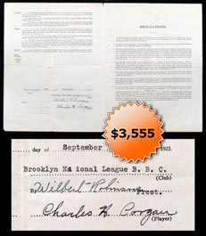 Wilbert Robinson & Chuck Corgan Dual-Signed Autographed 1925 Brooklyn Robins Contract - Full JSA