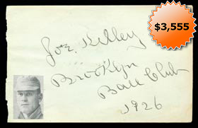 "Joe Kelley Autographed Signed Album Page With ""1926 Brooklyn Ball Club"" Inscription - Full James Spence Authentications LOA"