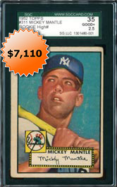 1952 Topps Baseball #311 Mickey Mantle Rookie Card High Number Graded SGC 35