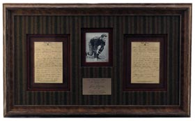1942 Jim Thorpe Handwritten and Signed Two Page Letter Beautifully Framed - Full James Spence Authentications LOA
