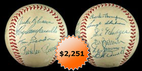 1954-1955 Brooklyn Dodgers Team-Signed Autographed Baseball With Jackie Robinson, Roy Campanella, Pee Wee Reese and Full James Spence Authentications