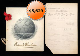 Remarkable 1889 Spalding Baseball World Tour Banquet Program Belonging to Edward Ned Hanlon & Itinerary