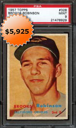 1957 Topps Baseball #328 Brooks Robinson Rookie Baseball Card PSA MINT 9