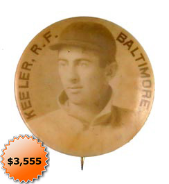 1898 Cameo Pepsin Gum Willie Keeler Pin