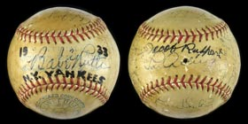 1933 New York Yankees Team-Signed Autographed Baseball With Babe Ruth, Lou Gehrig and Full JSA
