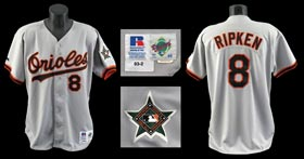 Cal Ripken, Jr. 1993 Baltimore Orioles Game-Worn Game Used Road Jersey - Full Miedema LOA