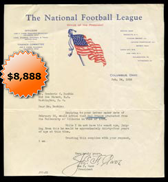 1921-1939 NFL President Joe Carr 1936 Autographed Signed Typed Letter with Full JSA