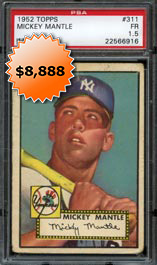 1952 Topps Baseball #311 Mickey Mantle Rookie Baseball Card High Number PSA 1.5