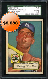 1952 Topps Baseball #311 Mickey Mantle Rookie Baseball Card High Number SGC 35