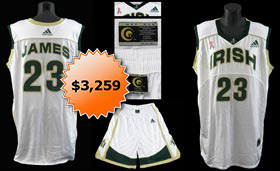 LeBron James 2002-2003 St. Vincent/St. Mary Game Basketball Jersey & Shorts - MEARS A5