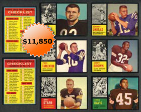 1962 Topps Football Card Complete Set - High Grade