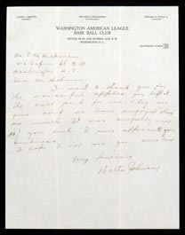 Walter Johnson Signed Autographed Handwritten Letter on Senators Letterhead with Full PSA/DNA