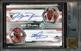 2004-05 Upper Deck SP Authentic Michael Jordan/LeBron James Dual Signatures #/25--BGS 9/Auto 10