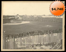 "1897 ""The Winning Game of 1897"" Baltimore vs. Boston Cabinet from Bill Hoffer Estate"
