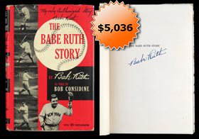 "Babe Ruth Signed Autographed First-Edition 1948 Hardcover Copy of ""The Babe Ruth Story"" - Full JSA"