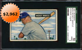 1951 Bowman Baseball #253 Mickey Mantle Rookie Card - SGC 50