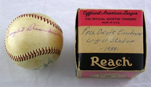 Dwight Eisenhower Signed Autographed Baseball From 1959 Griffith Stadium