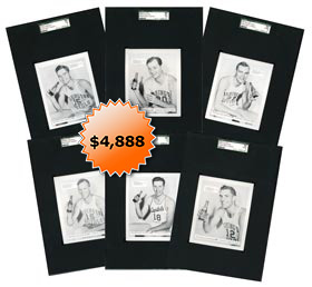 1950-1951 Washington Capitols 7-Up Basketball Card Collection of (6) Different - each highest and only graded